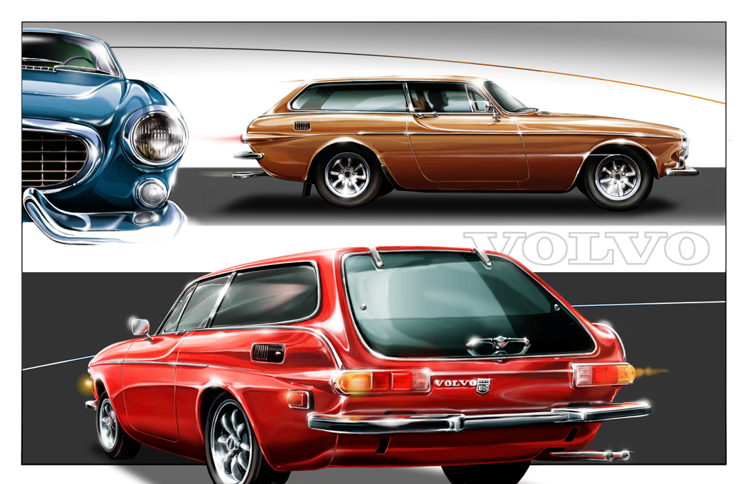 Volvo 1800es Sport Wagon Red Original Artwork Print