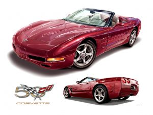 C5 Corvette 50th Anniversary 2003 original artwork print