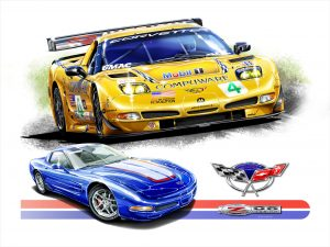 Product image for C5 Corvette Yellow Slant velocity fine arts