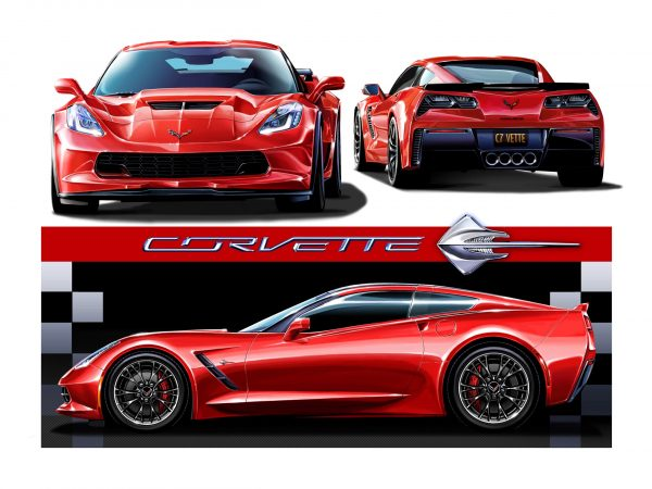 "C7s ""Crazy About Red Corvettes"" 18 x 24 inch Original Print"